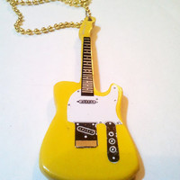 Yellow color original Guitar Necklace pendant Fender Telecaster Emo ISRAEL HAND MADE