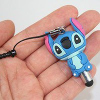 3D Stitch Blue Short Mobile Touch Pen With Dust-proof Plug For 3.5mm,Lenght:1.7""