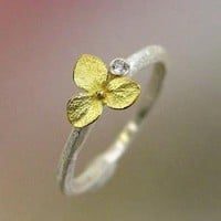 Hydrangea Blossom Diamond Stacking Ring by PatrickIrlaJewelry