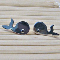 WHALE Sterling Silver Stud Earrings Mini Zoo series by karramba