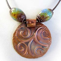 Copper Pendant on Brown Leather Necklace with Mood Beads | DreamStonesByThaddeusRose - Jewelry on ArtFire