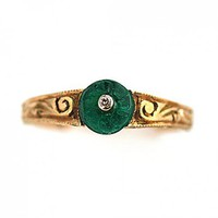 Vintage Estate 18 Kt Yellow Gold Carved Emerald Diamond Ring | artdecodiamonds - Jewelry on ArtFire
