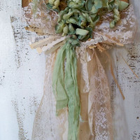 Shabby chic wall heart hanging mint green off white handmade tea stained tattered lace muslin ooak Anita Spero