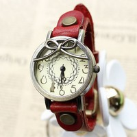 Sweet Bow Women's Vintage Style Leather Wrist Watch - Watches - Accessories - Women Free Shipping
