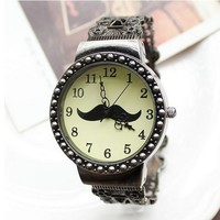 Cute Mustache Vintage Cutout Women's Cuff Bracelet Watch - Watches - Accessories - Women Free Shipping