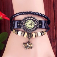 Vintage Leather Wrap Watch-Cat