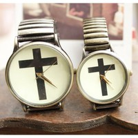 Ancient Bronzed Cross Pattern Brief Fashion Lovers' Watches - Watches - Accessories - Women Free Shipping