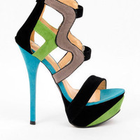 Lola Strappy Platform Heels in Black and Grey :: tobi