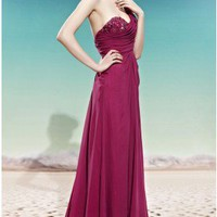 Elegant  One Shoulder Sweetheart  Floor Length Crimson Evening Dress