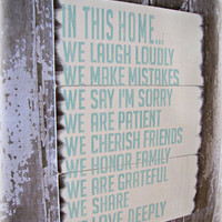 In This Home House Rules White with Aquamarine- Antiqued Plank by cellardesigns on Etsy