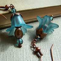 Teal Blue Lily Flower Earrings by acottagehearth on Etsy
