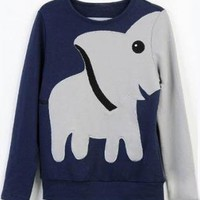Fashion Elephant Pattern Hoody Tee