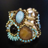 Tribal Bracelet with Rhinestones Sharona Nissan by SharonaNissan