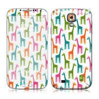 Galaxy S4 Decal, Samsung Cover, Galaxy S4 i9500 Case Skin, PLUS Matching Wallpaper - Giraffes - Giraffe Multicolor Cute Women Men Teen