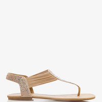 Iridescent Rhinestone-Accented Thong Sandals