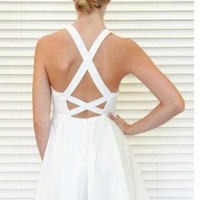 White Cutout Dress with Gold Sequin Bustier