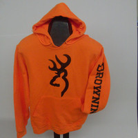 Browning Safety Orange Hoodie  Black logo/arm logo by Apparelnmore