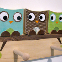 Owl Friends Peg Rack Blue Brown and Green by MapleShadeKids