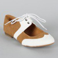 Cambridge-24 Lace Up Cut Out Lace Up Oxford Flat
