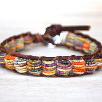 Boho Leather Bracelet, Shabby Chic, Fabric Textile Beads