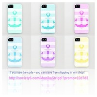 *** NEW SUMMER VINTAGE ANCHOR STRIPES *** IPHONE CASE by Society6 with FREE SHIPPING *** USE THE CODE by M✿nika  Strigel