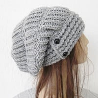 Hand Knit Hat- Womens hat - Winter  hat - Womens Beanie -    Slouchy Beanie  Hat in Silver Gray  Fall Winter Accessories    Fashion