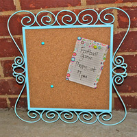 Decorative Aqua Blue Cork Message Board by AquaXpressions.. Fun Chic Decor by Aqua Xpressions 