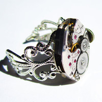 SteamPunk Ring vintage Elgin 17 jewel Watch by InsomniaStudios