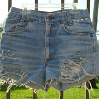 High Waisted Jean Shorts Denim Levi Studs Size 28 by shortyshorts