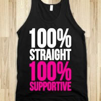 100% Straight 100% Supportive-Unisex Black Tank