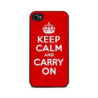 Keep Calm and Carry On - Red iPhone 4 or 4s Cover