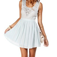 Light Blue Laser Cutout Dress
