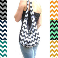 Chevron Hobo Bag. Jersey Fabric Bag. Casual Purse. Boho Bag. Black, Gray, Tangerine, Navy, Teal, Mint, Mustard Chevron. Summer Line.