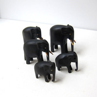 Vintage hand carved family ebony wood elephant figurines
