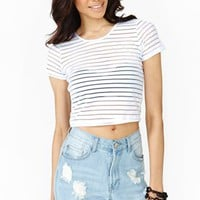 Optic Stripe Crop Tee