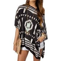 Black/White Oversize Tribal Print Sweater