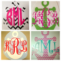 Monogrammed Anchor Decal for Car Laptop by MeowMeowHouseDesigns