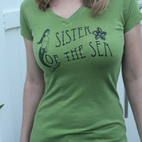 Mermaid V neck t shirt Sister of the Sea Size by Seventy1Percent