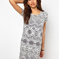 River Island Aztec Mono T-Shirt Dress at asos.com