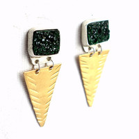 Deep Green Drusy Earrings- Handmade Triangle Dangles