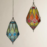 Medium Antigua Pieced Glass Lanterns, Set of 2