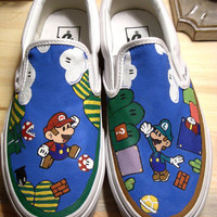 Handpainted Super Mario Bros Shoes VANS by WalkingDeadApparel