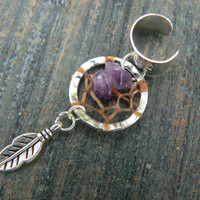 dreamcatcher ear cuff amethyst cross cuff in boho gypsy hippie hipster native american and tribal style