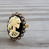 Lolita Skull Cameo Ring by cynicalredhead on Etsy