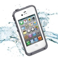 Leang Waterproof Shockproof and Dirtproof Case for iPhone 4 4S Life Dirt Proof Case - White with Gray + Cleaning Cloth:Amazon:Cell Phones & Accessories