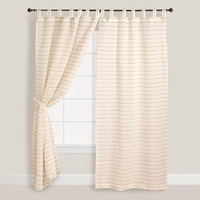 Ivory Jute Striped Sahaj Curtains - World Market