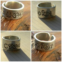 coexist ring made of islam symbol, hamsa, om, david, peace and love,