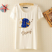Lace Sleeve Sequins Fish Cotton Slim T-shirt