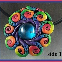 Bright Rainbow Spirales de Cirque Focal Bead