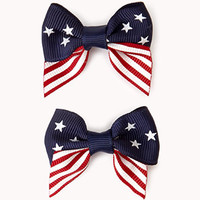 Anerican Flag Bow Hair Clip Set